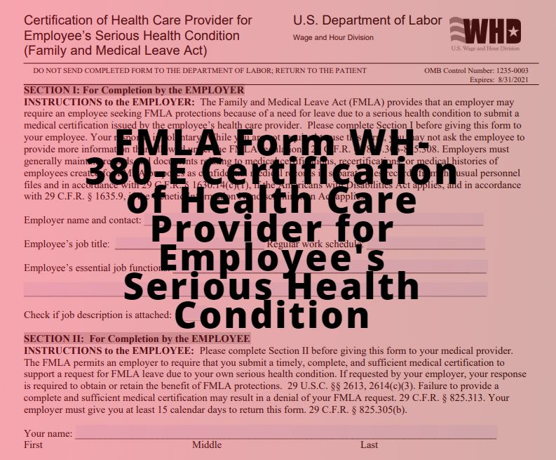 fmla form 380 wh condition serious certification provider employee care employees